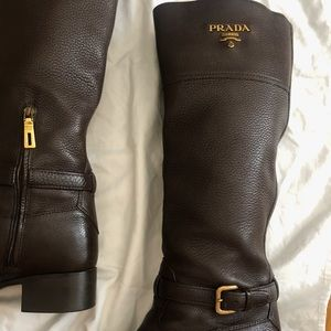 Prada  brown leather mid-knee boots- size 8.5